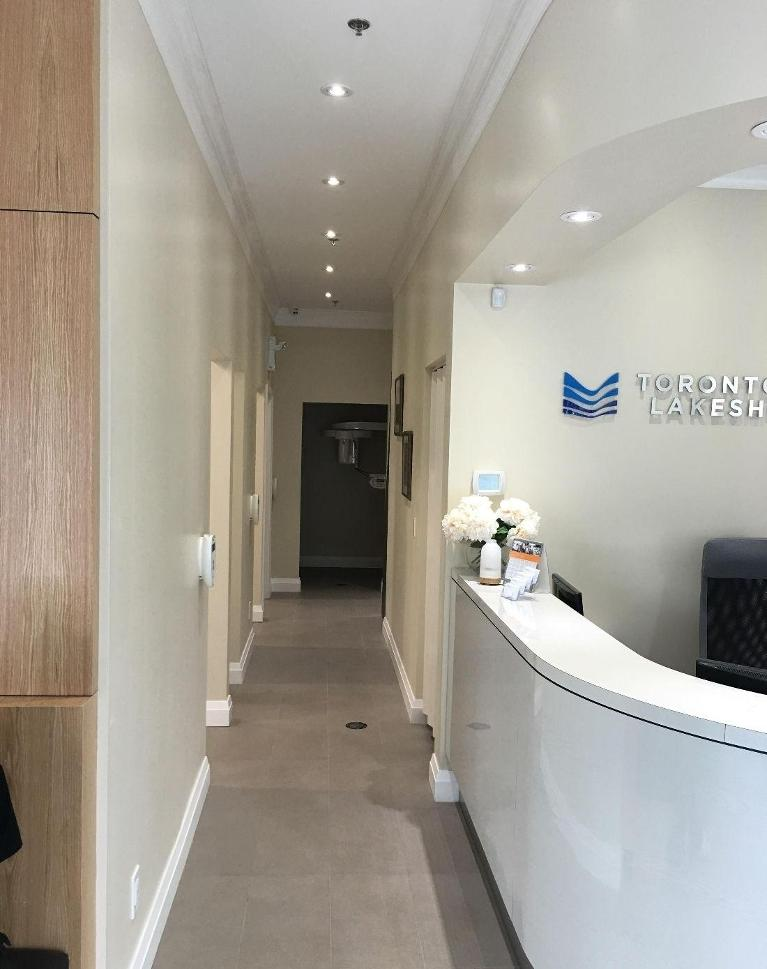 Checkout Area and Bright Hallway in Toronto Lakeshore Dental